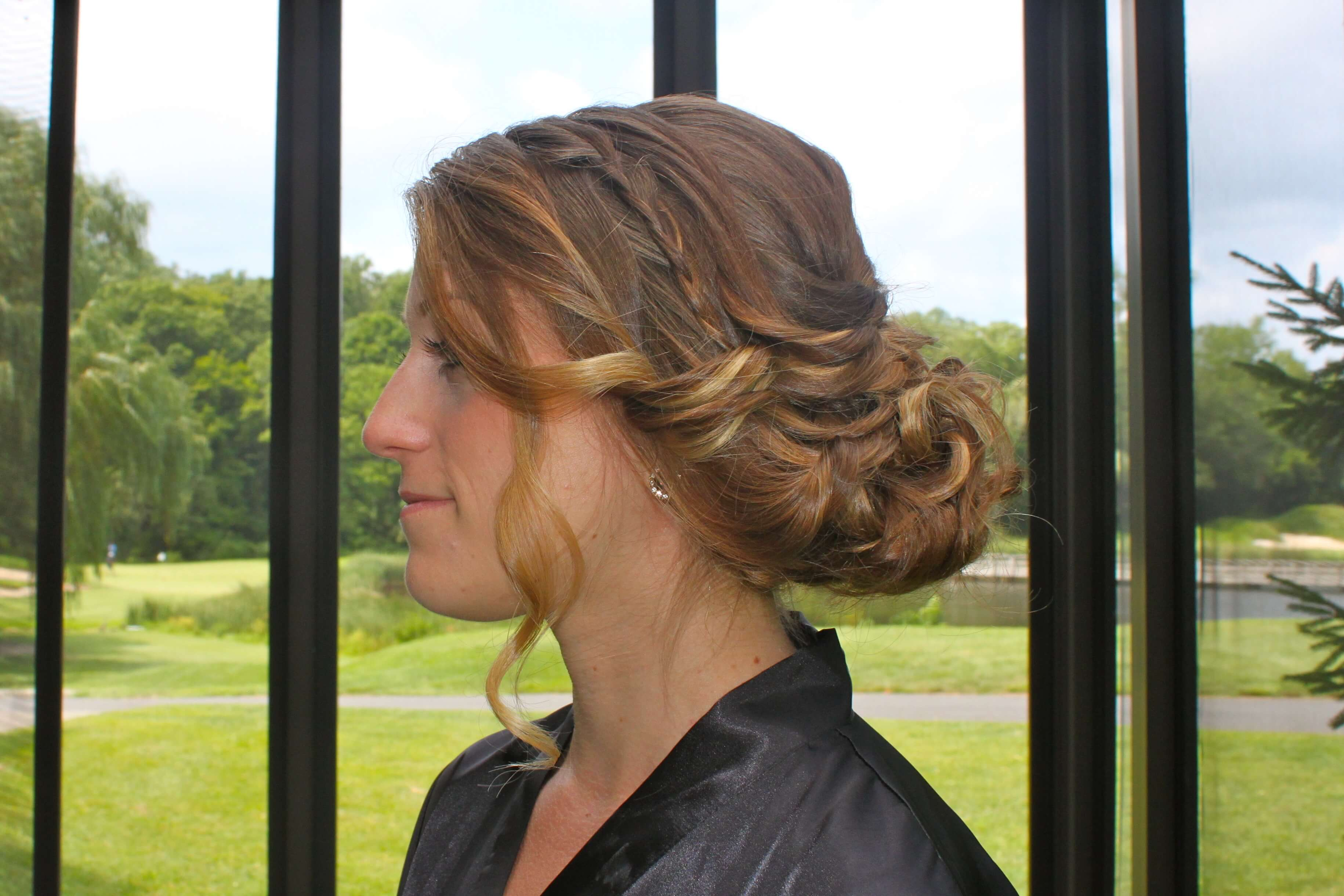 balayage brown curly updo