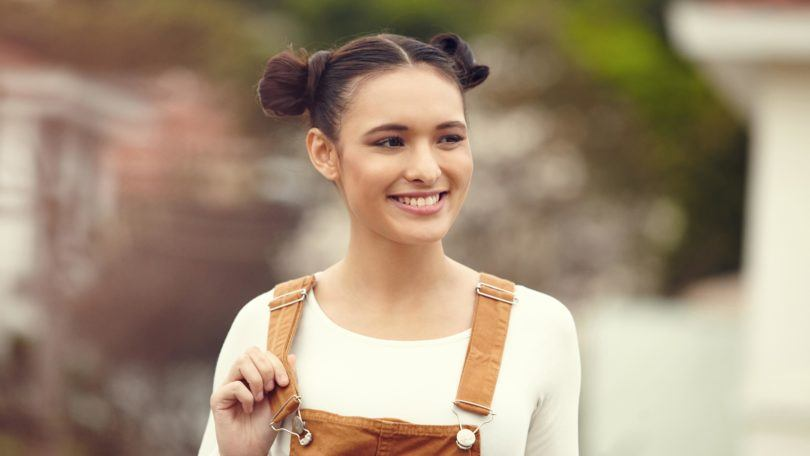 party hairstyles for medium hair space buns dark middle part