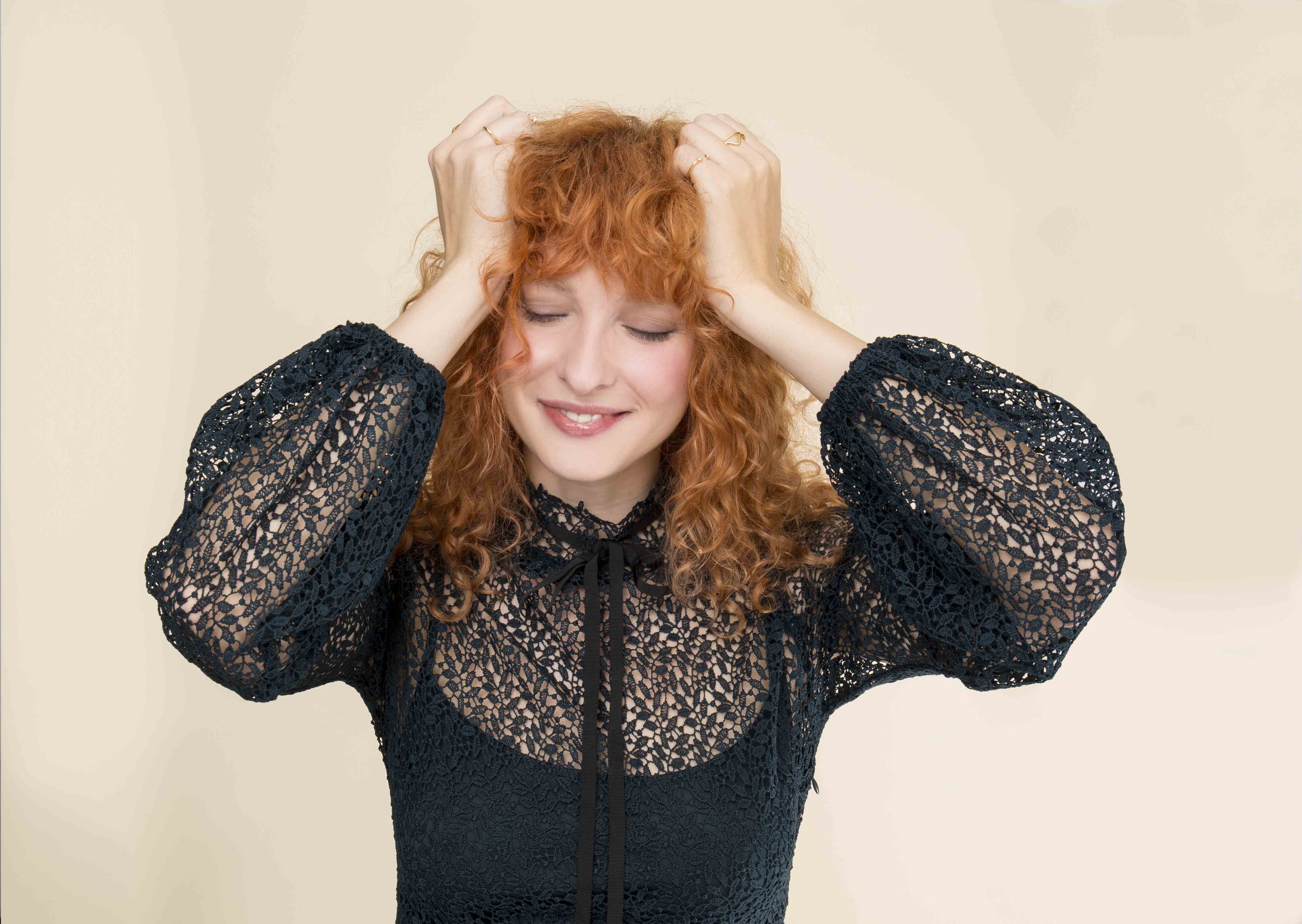 curly hair bangs dried with a diffuser