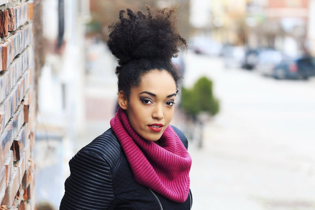 naturally curly hair top knot