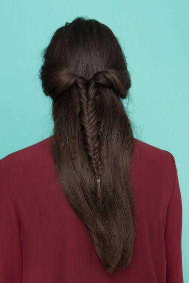 half fishtail braid main back