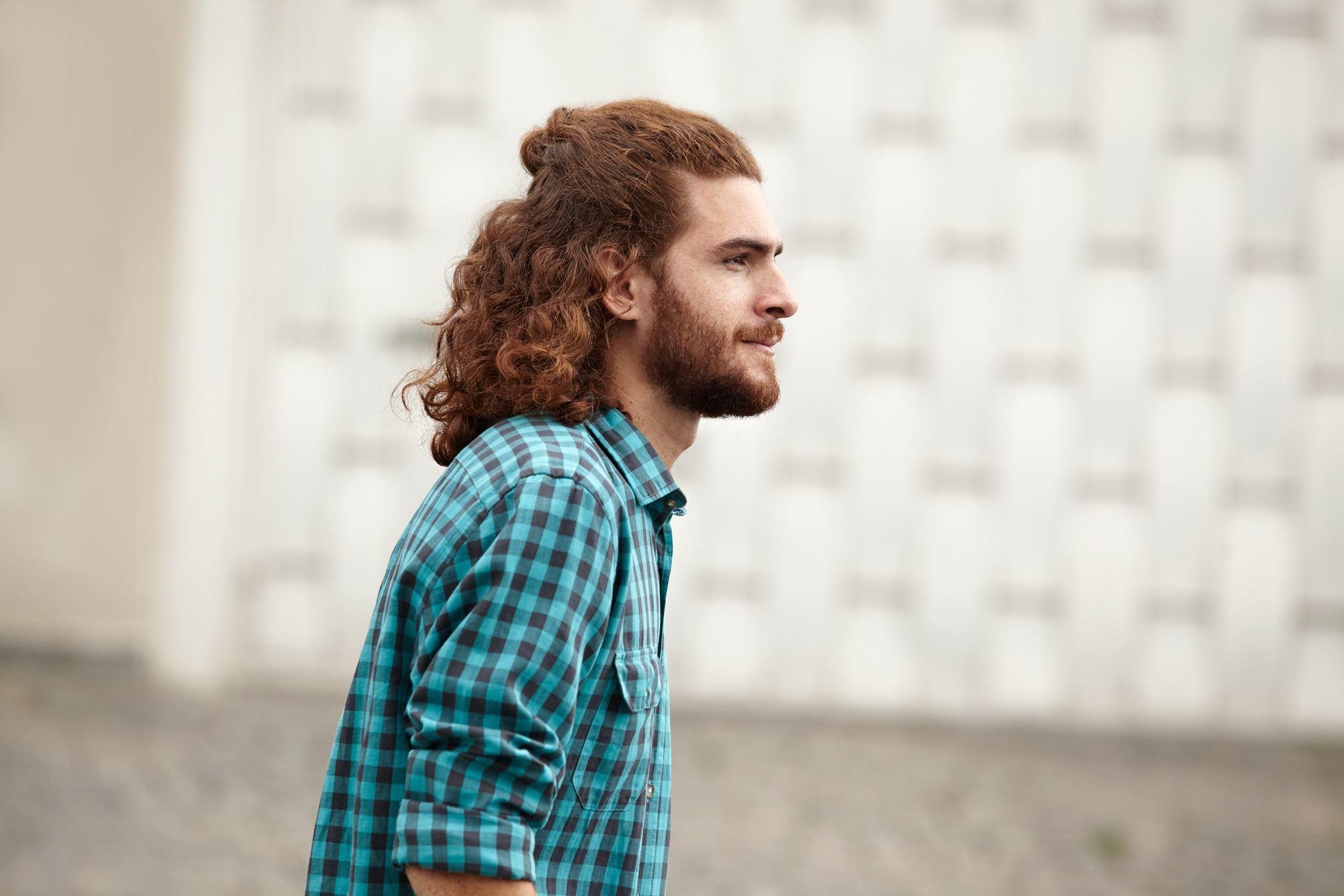 curly hairstyles for men 2017 half-up man bun