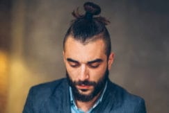 man bun fade high bun