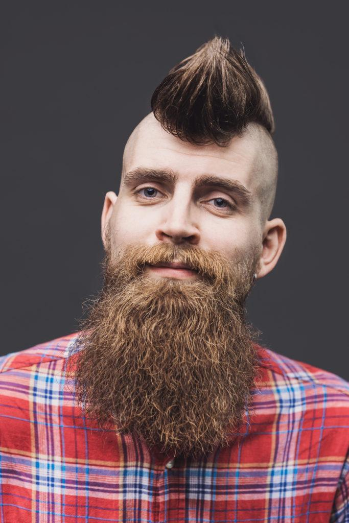 mohawk hairstyles for men: mohawk and beard combo