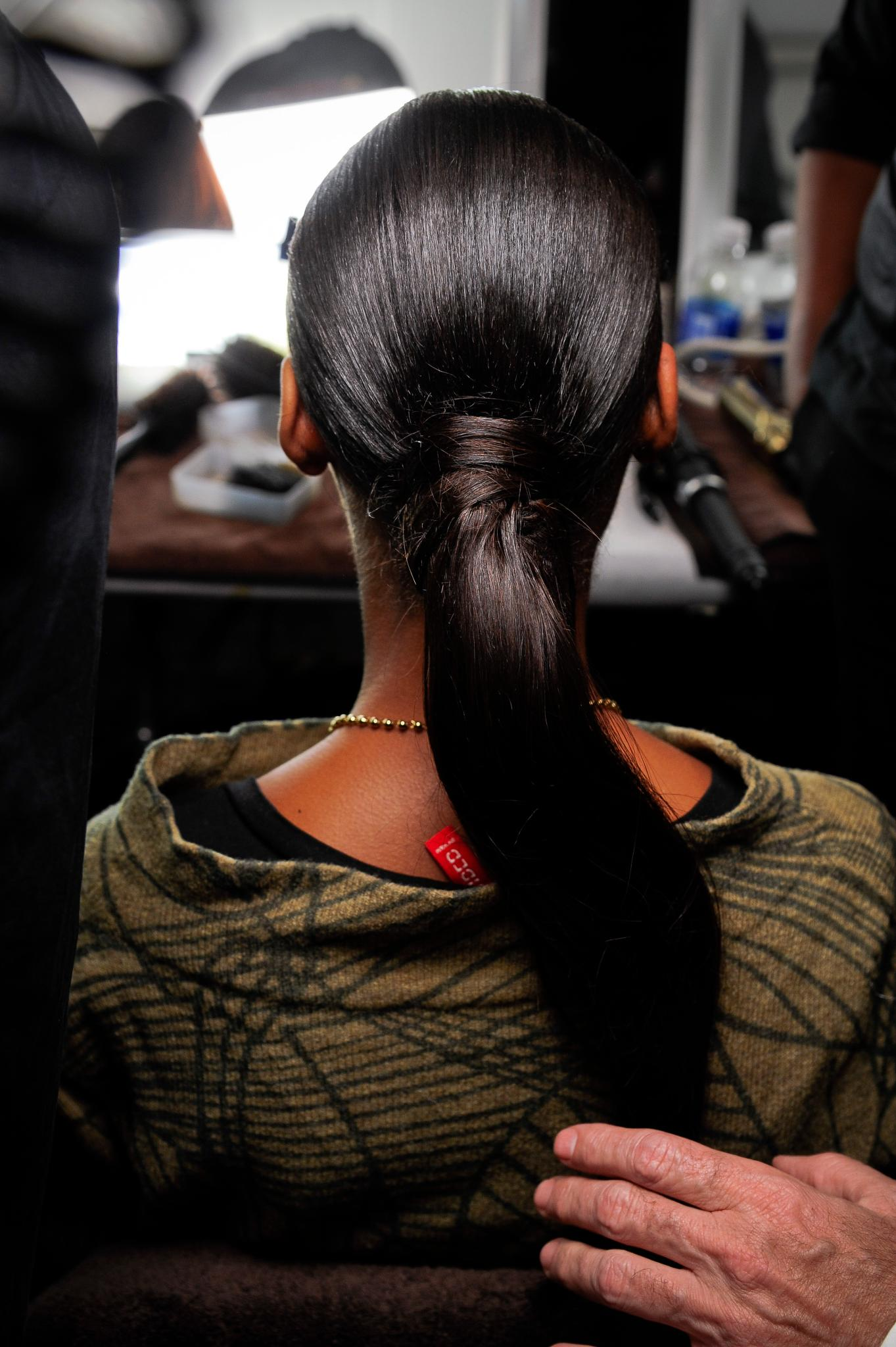 pin-straight hair ponytail
