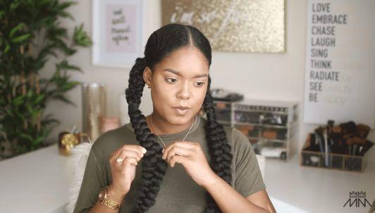 mini marley pancakes her braided hairstyle