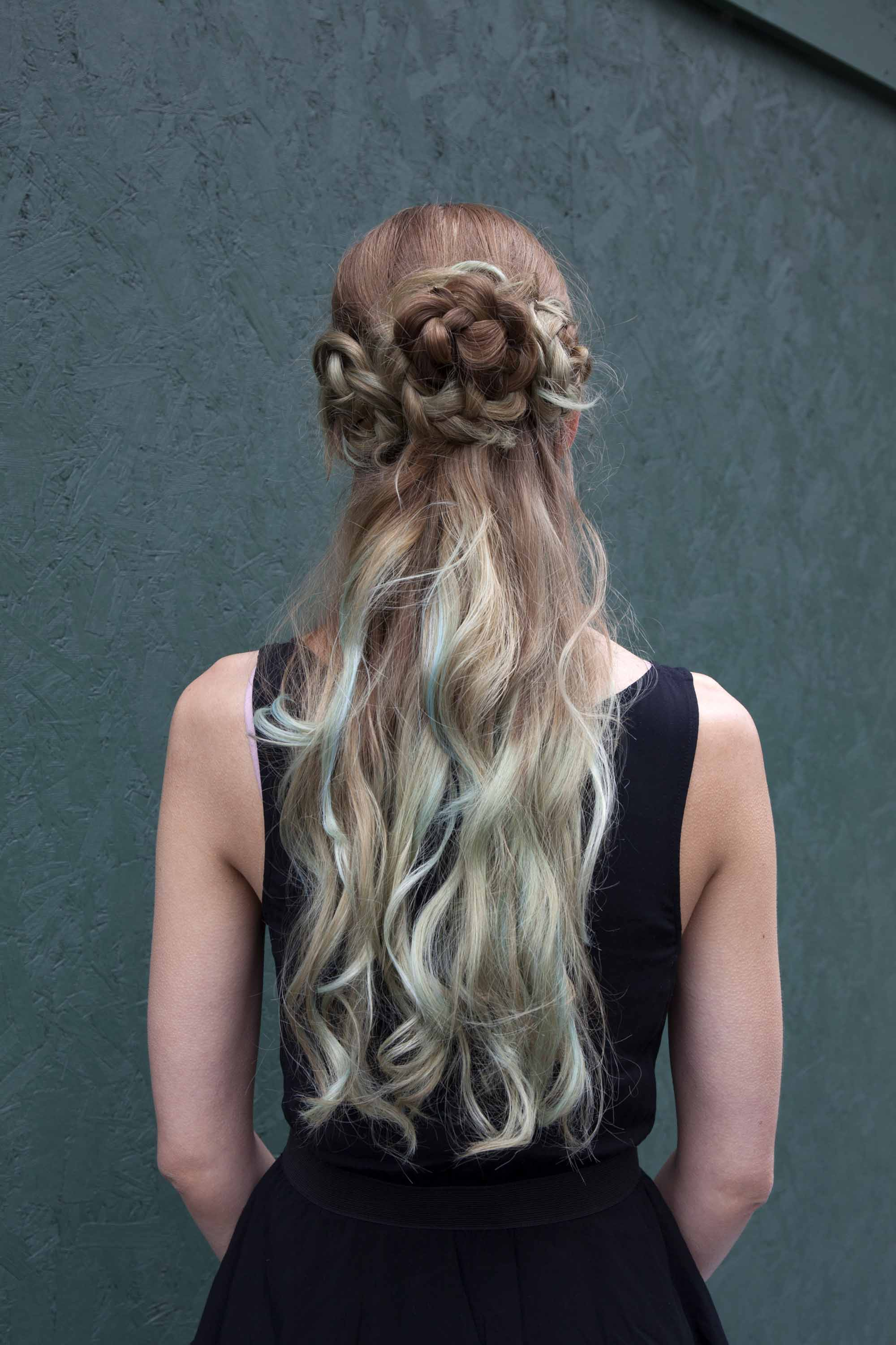 curling wand hairstyles on a mermaid braided bun