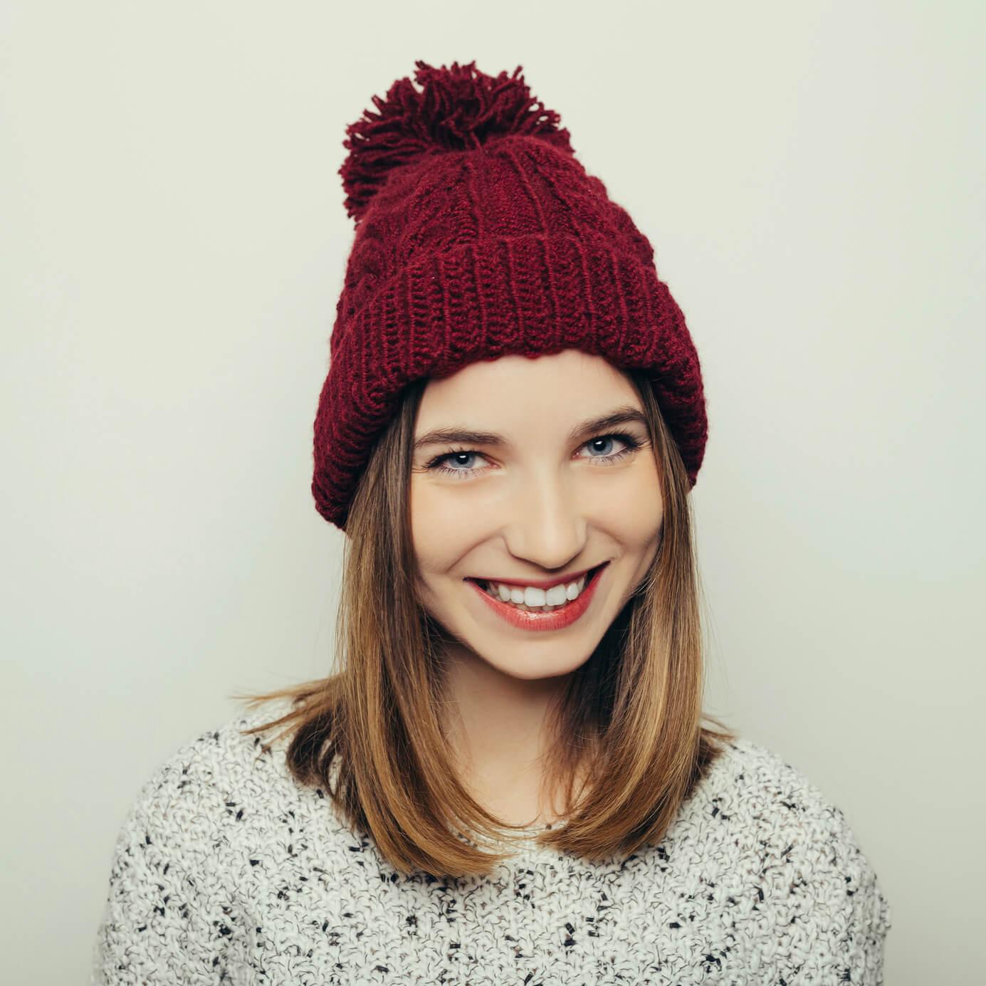 young woman wearing winter hair