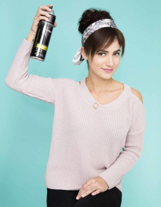 how to create fake bangs finish with hairspray
