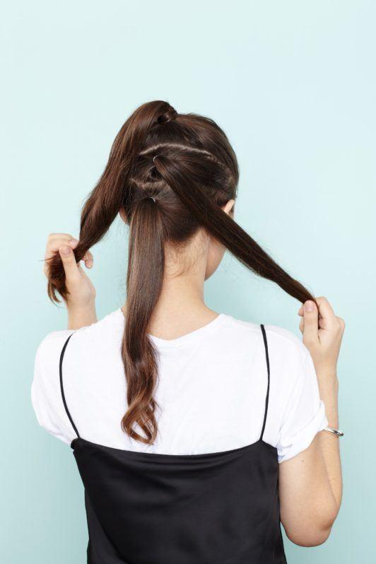 faux hawk tutorial create three ponytails