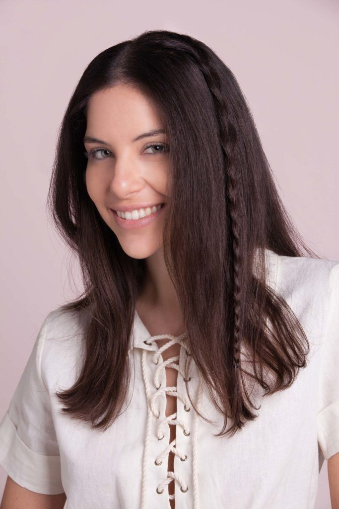easy braids for medium hair: accent plait on long dark brown hair