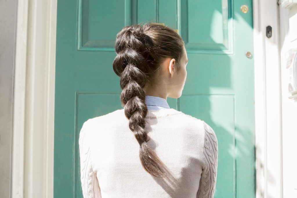 medium hairstyles braids pull through pony