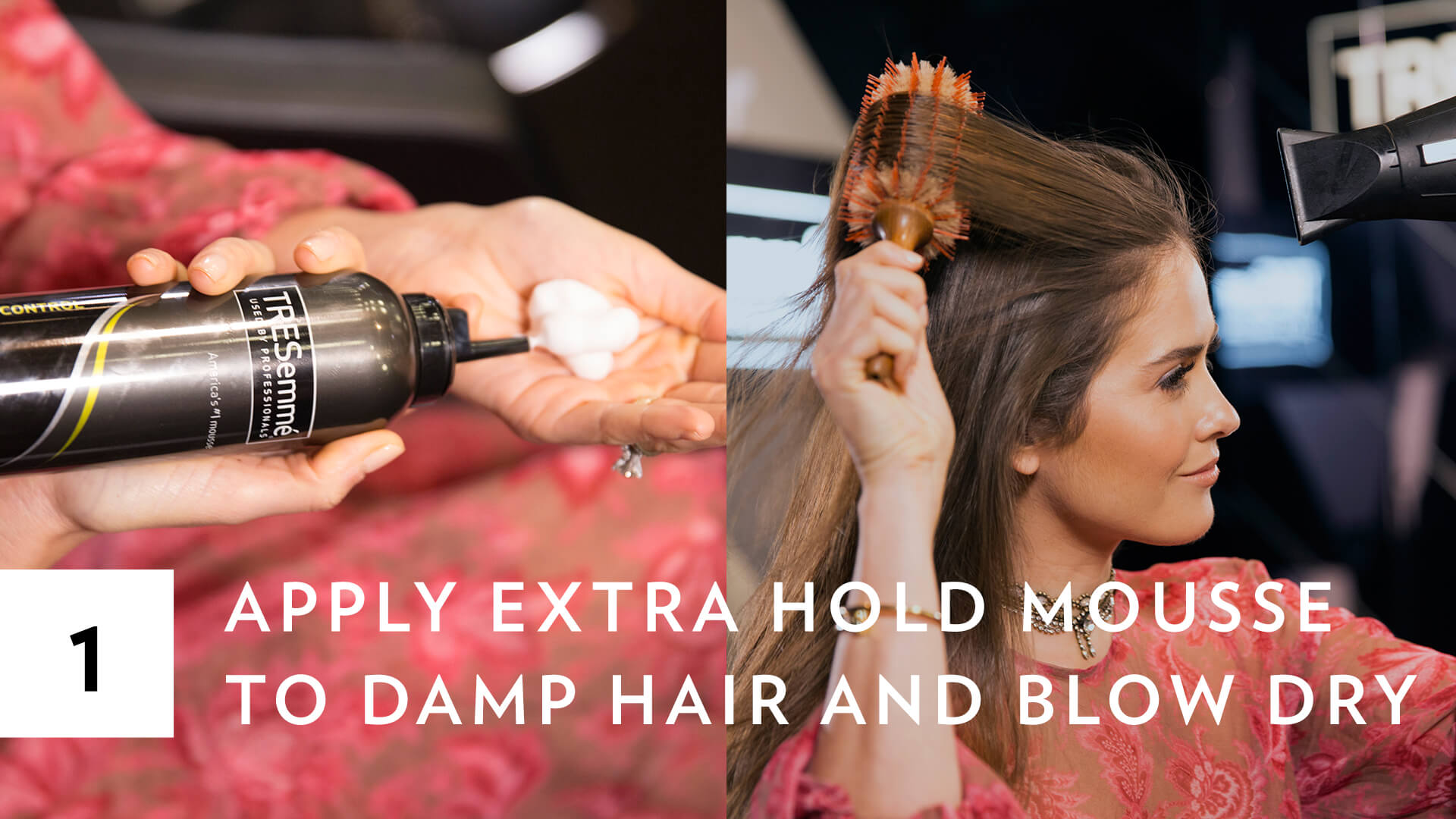 blogger Paola Alberdi from Blank Itinerary applying mousse and blowdrying her hair during NYFW for a mermaid braid