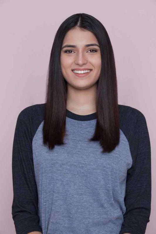 woman with medium length straight hair