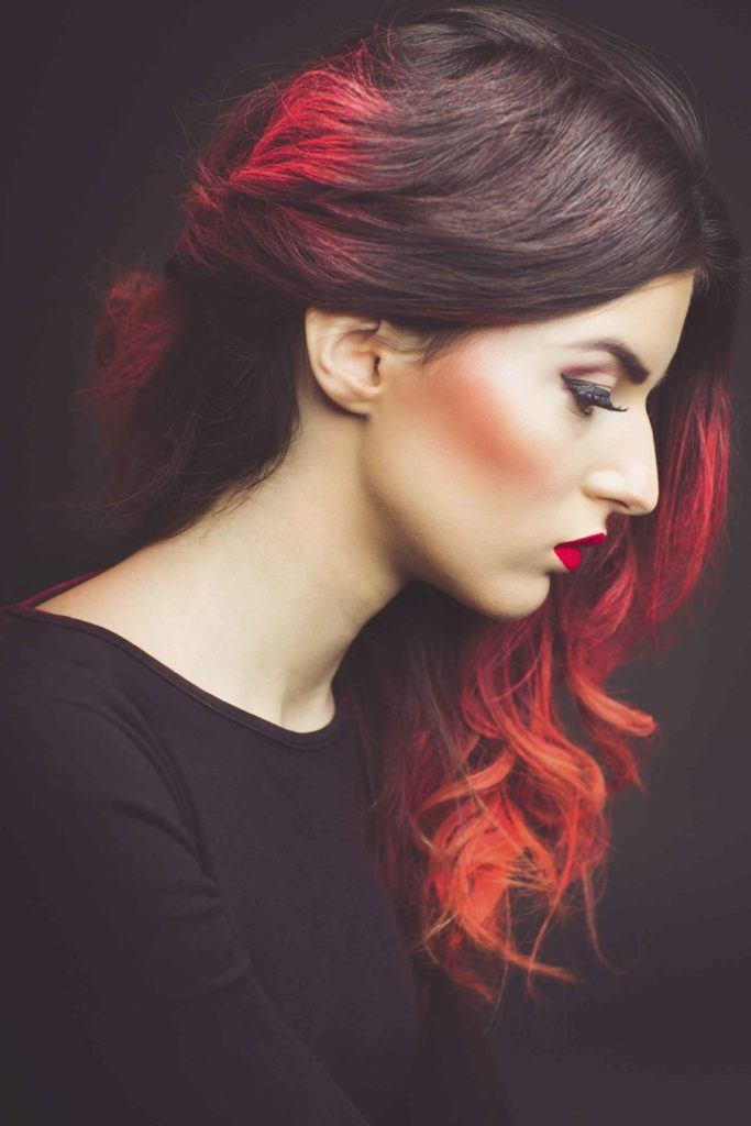 red hair with highlights brown to red ombré