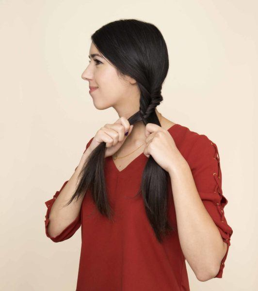 side fishtail braid repeat the process