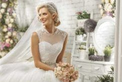 bride with twisted chignon hairstyle on her wedding day