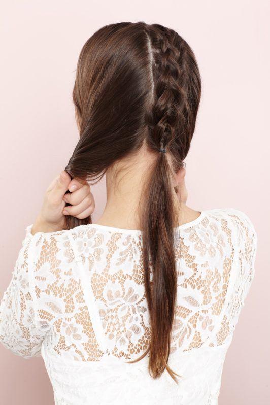 unicorn braid ponytail gather hair into a ponytail