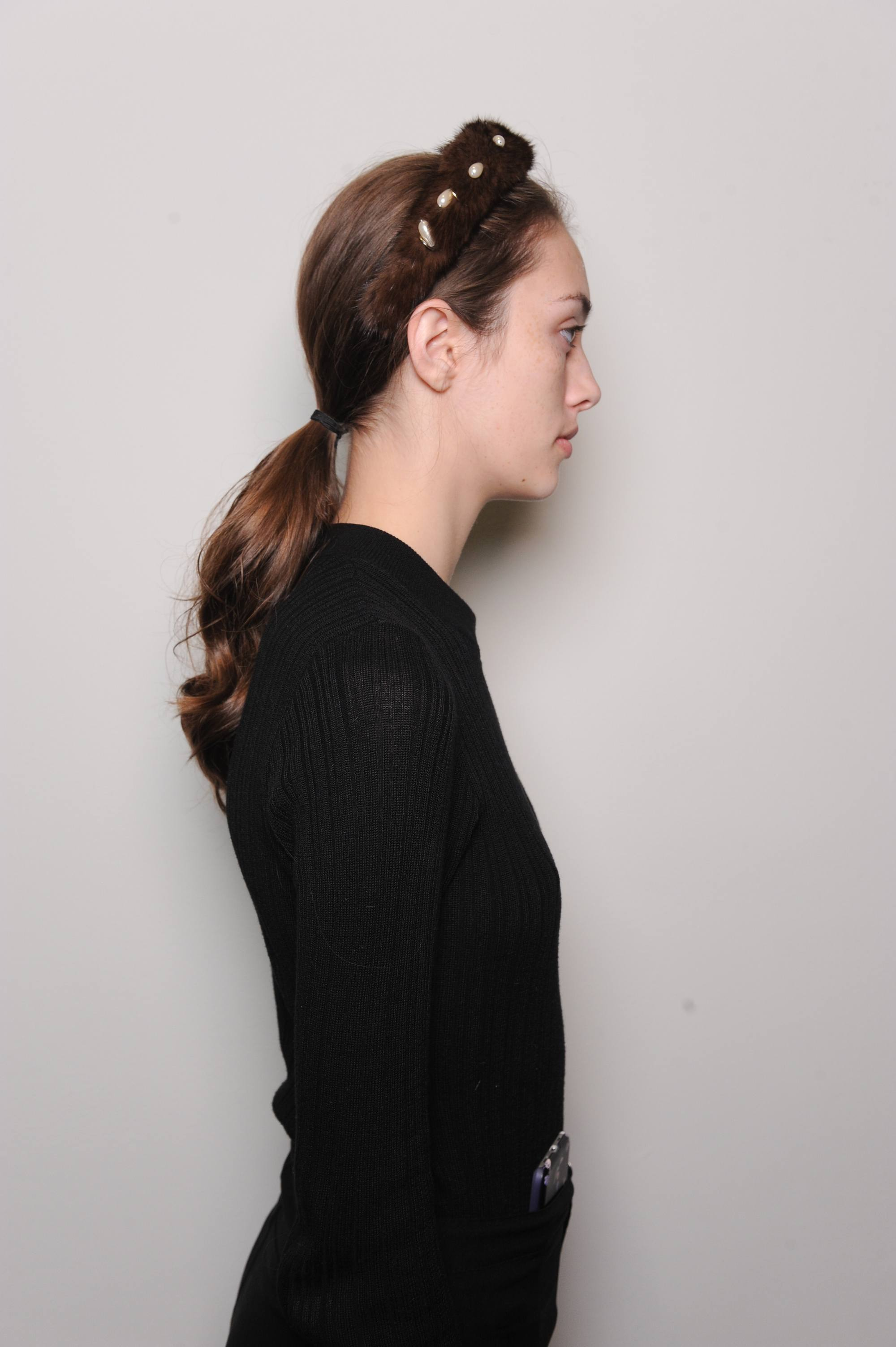 young model wearing renaissance look ponytail during new york fashion week