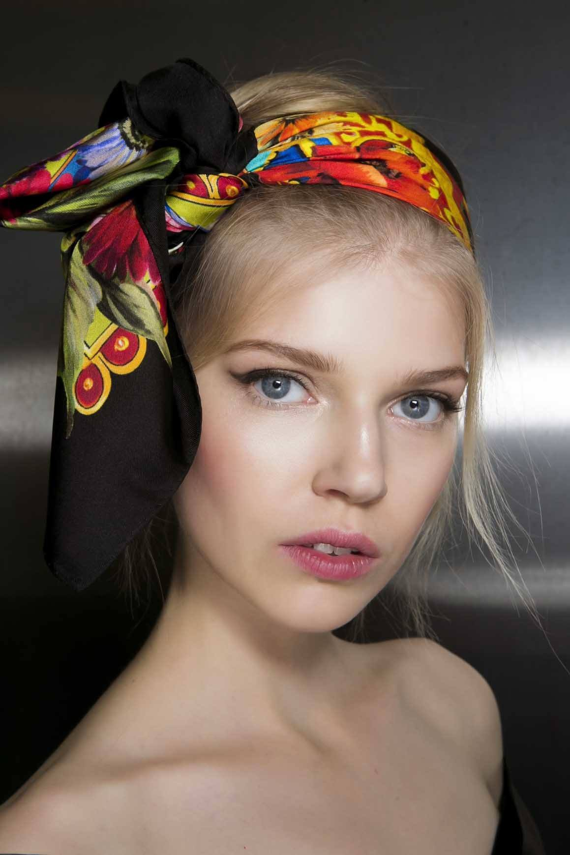 bold hair accessories with a scarf