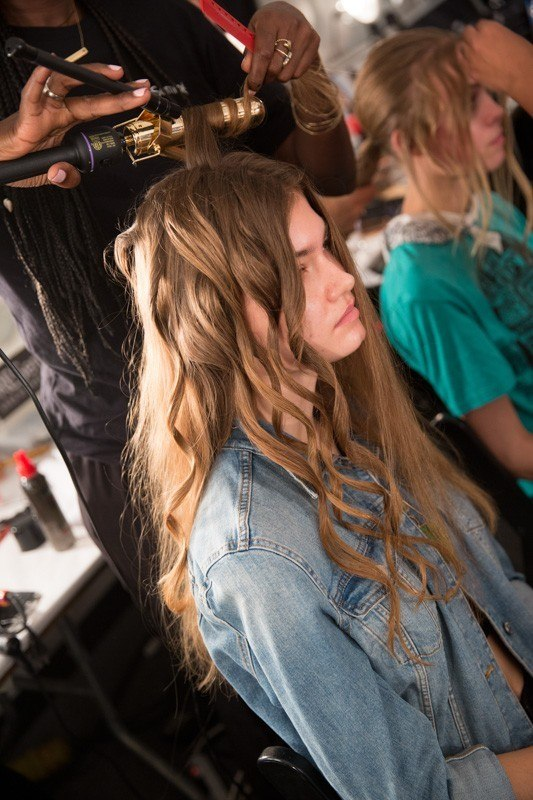 curling tongs being used at New York Fashion Week