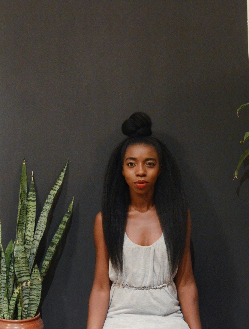 image of blogger wearing top knot hairstyle