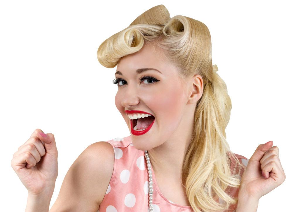 pin-up styles for long hair: half up
