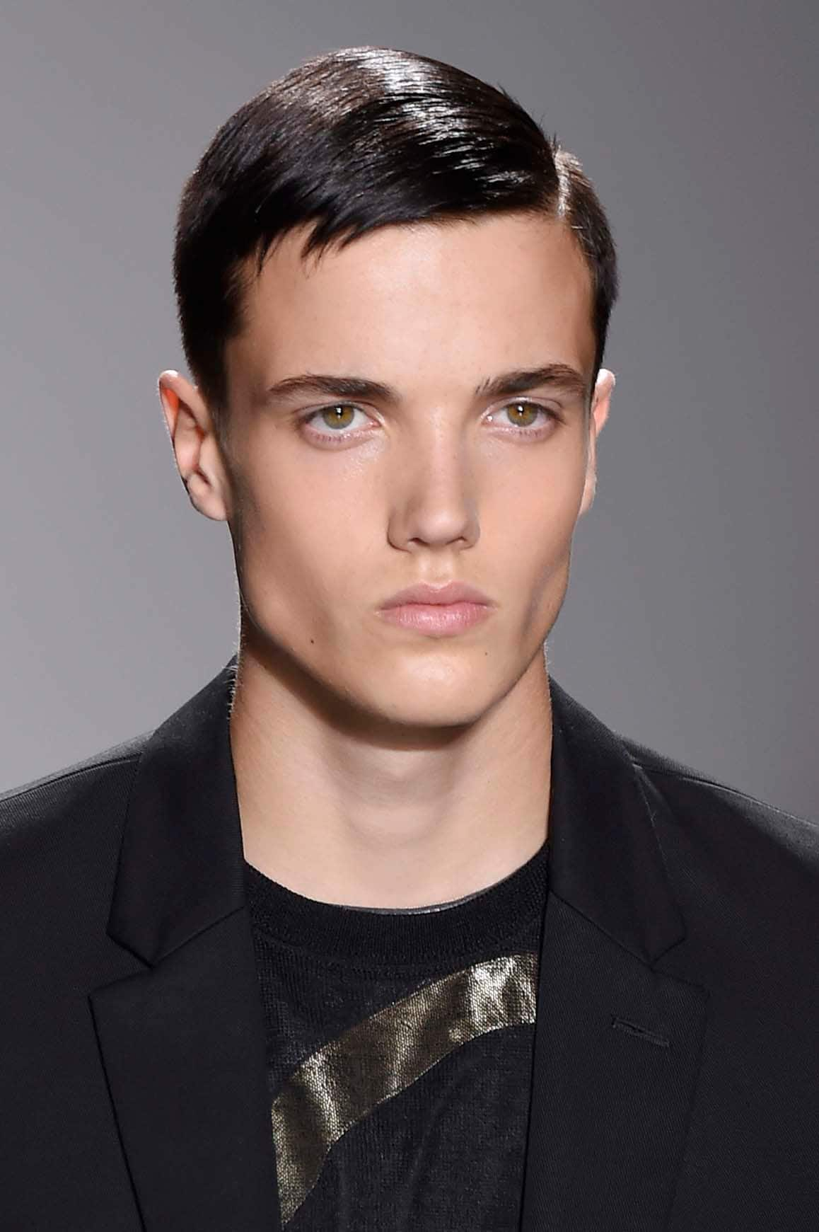 short comb over slicked hair