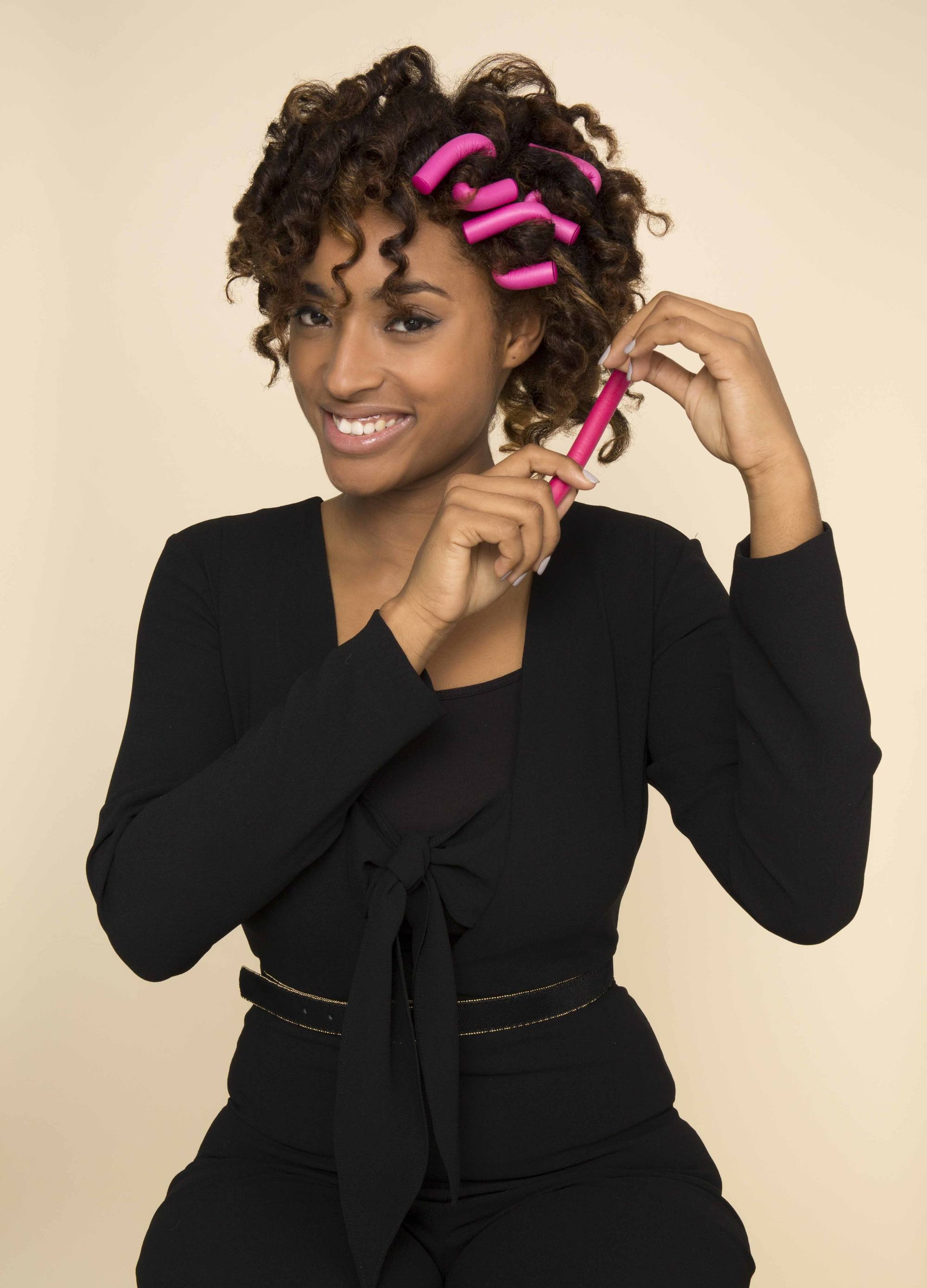 low manipulation hairstyles using flexi-rods