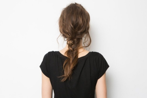 model showing back view of braid with textured hairstyles