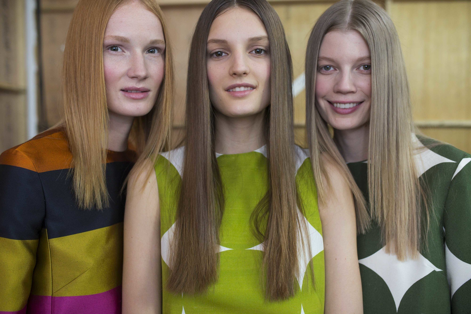 70s middle part with sleek hair