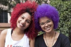 Easy Curly Hairstyles include bold color looks.