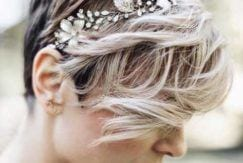 Wedding Pixie Cuts can be styled with gorgeous accessories.