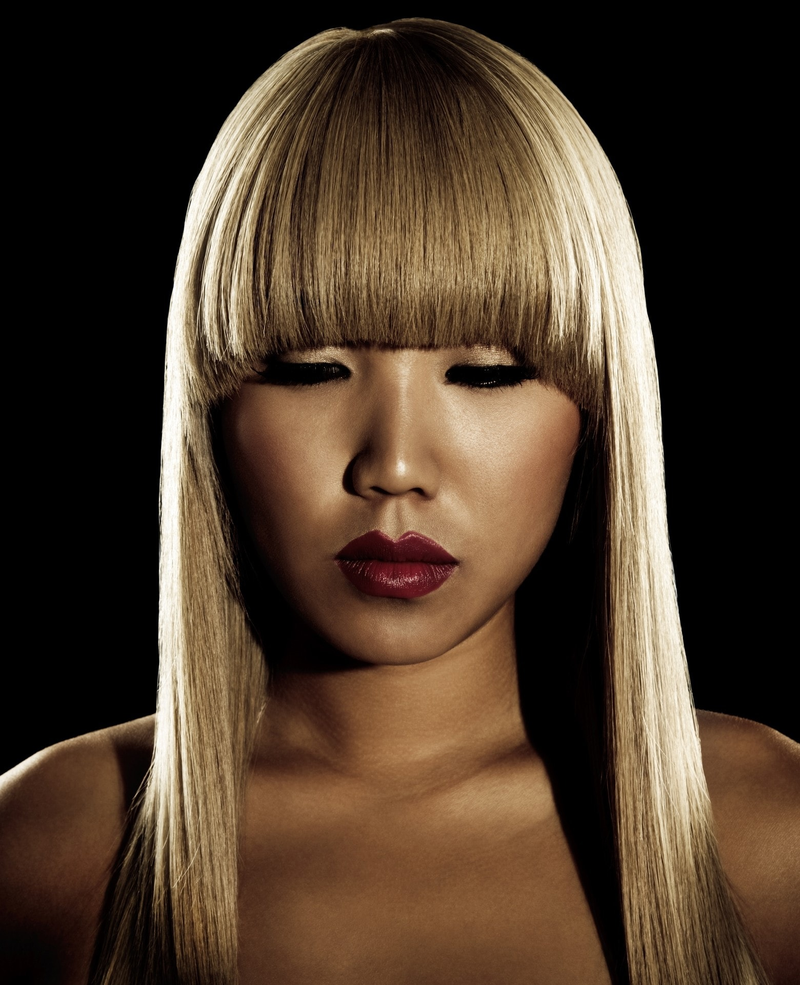 asian hair color ideas blunt blonde bangs