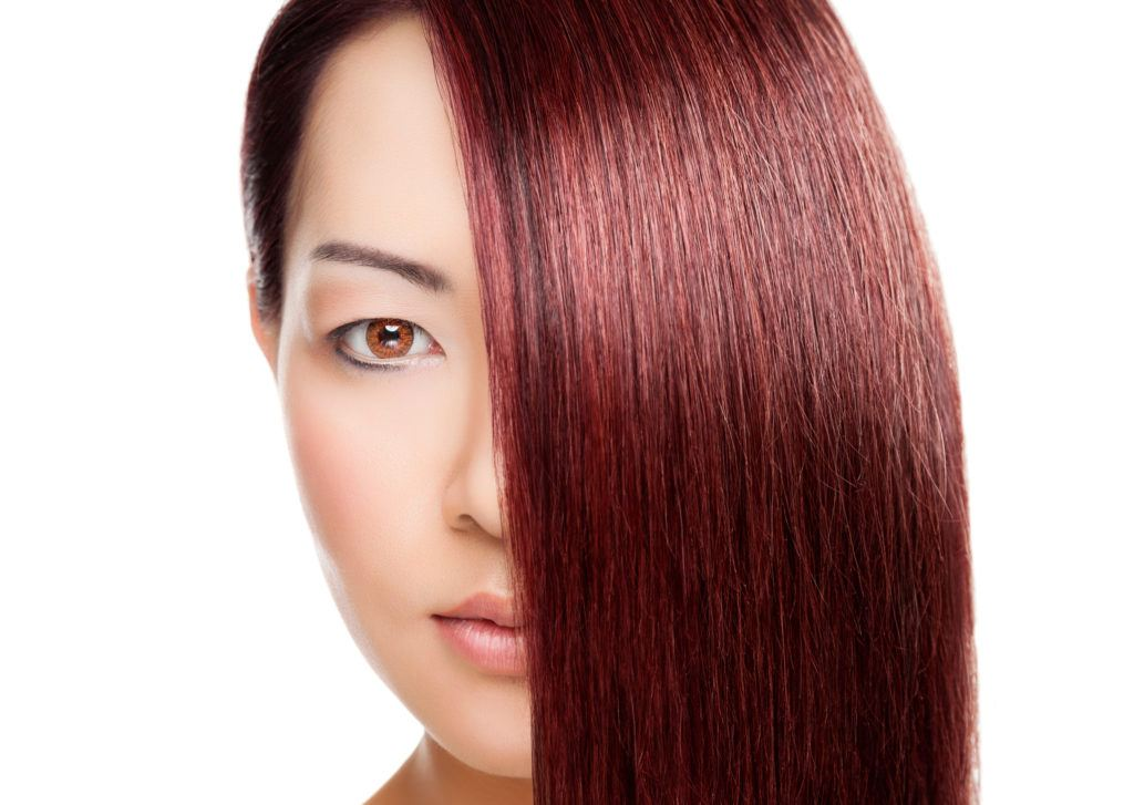 asian hair color ideas burgundy straight hair