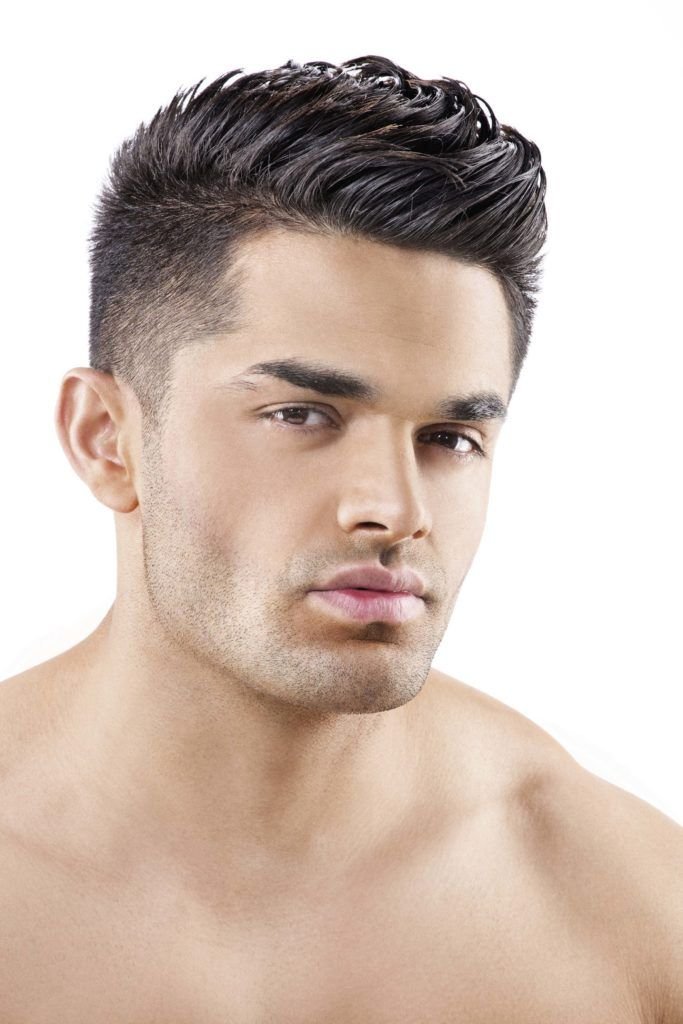 Different ways to wear a fade haircut with part.