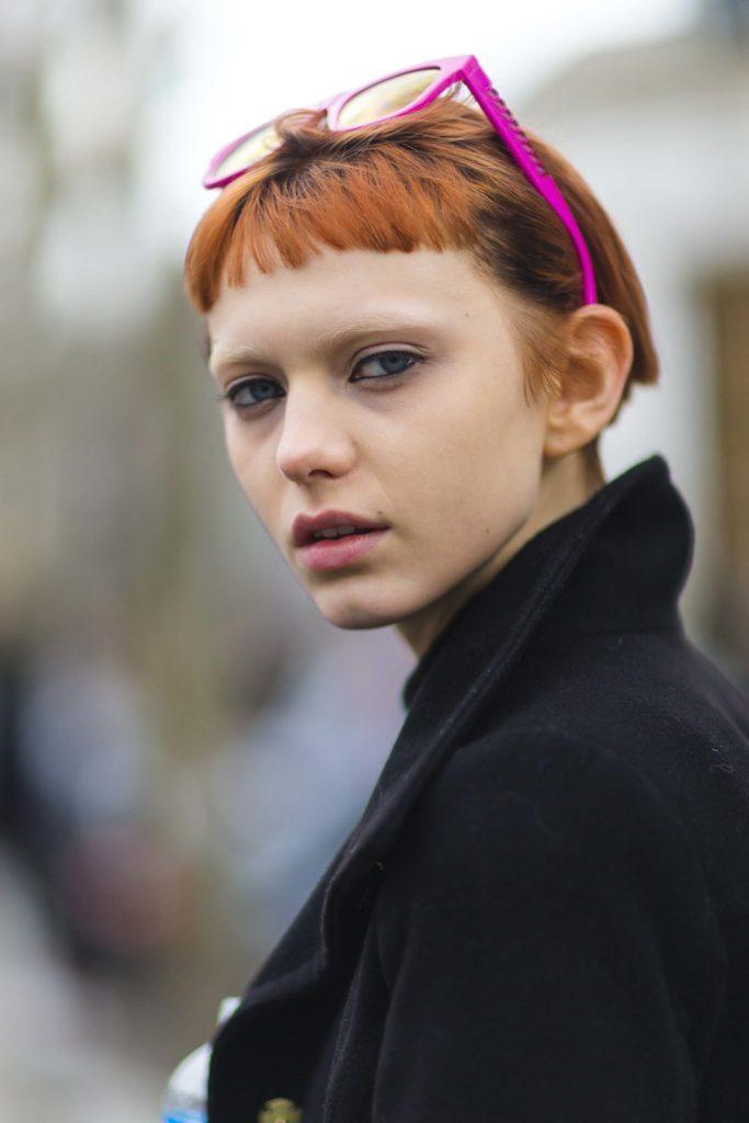 red hair with bangs micro fringe