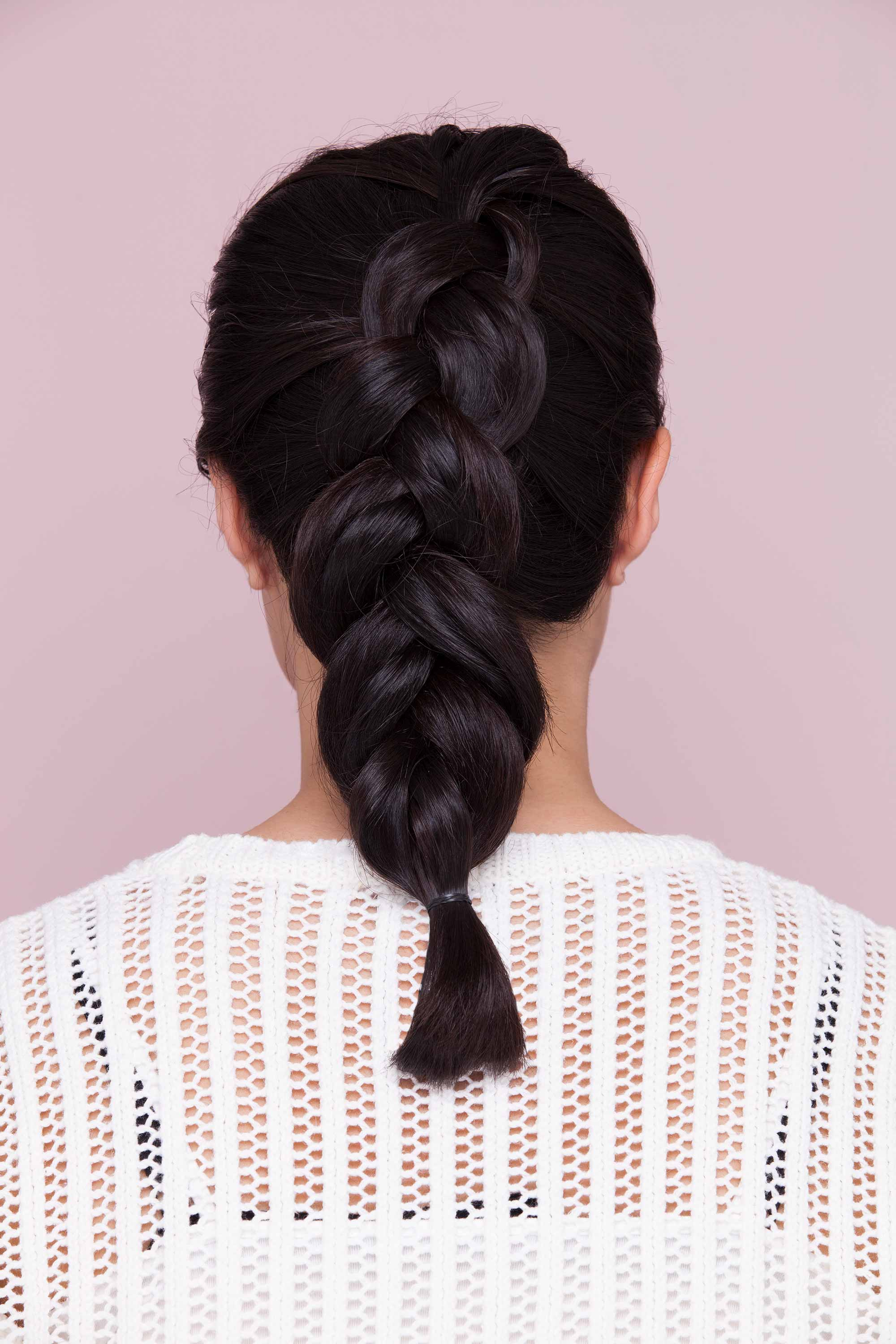 Brunette Woman Wearing Shoulder Length Hairdos Dutch Braid And Voluminous Hair