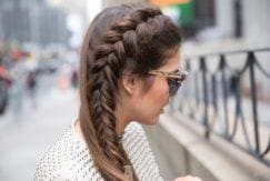 cute spring break hair looks: side braid half updo.