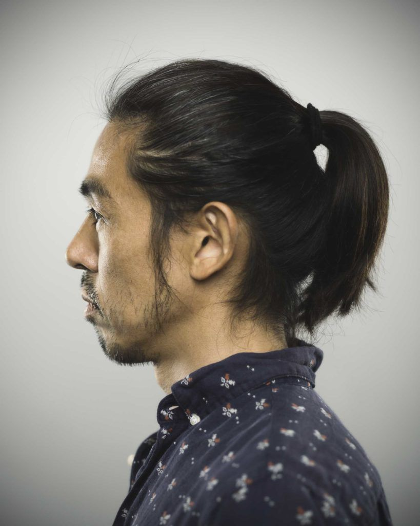 You can wear straight asian hair types many different ways. Man ponytail.