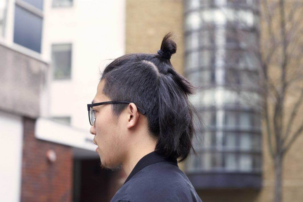 You can wear straight asian hair types many different ways. Mini man bun.