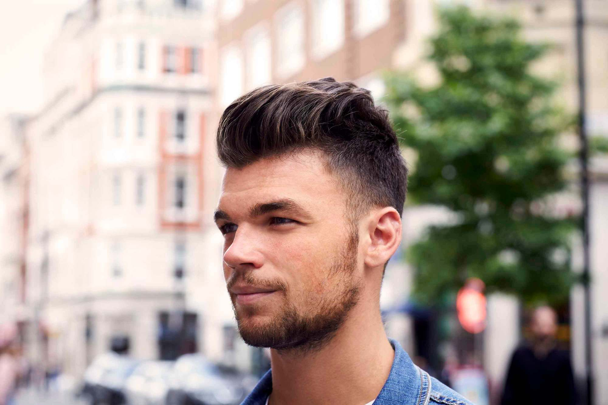 style men's curls with a pomp