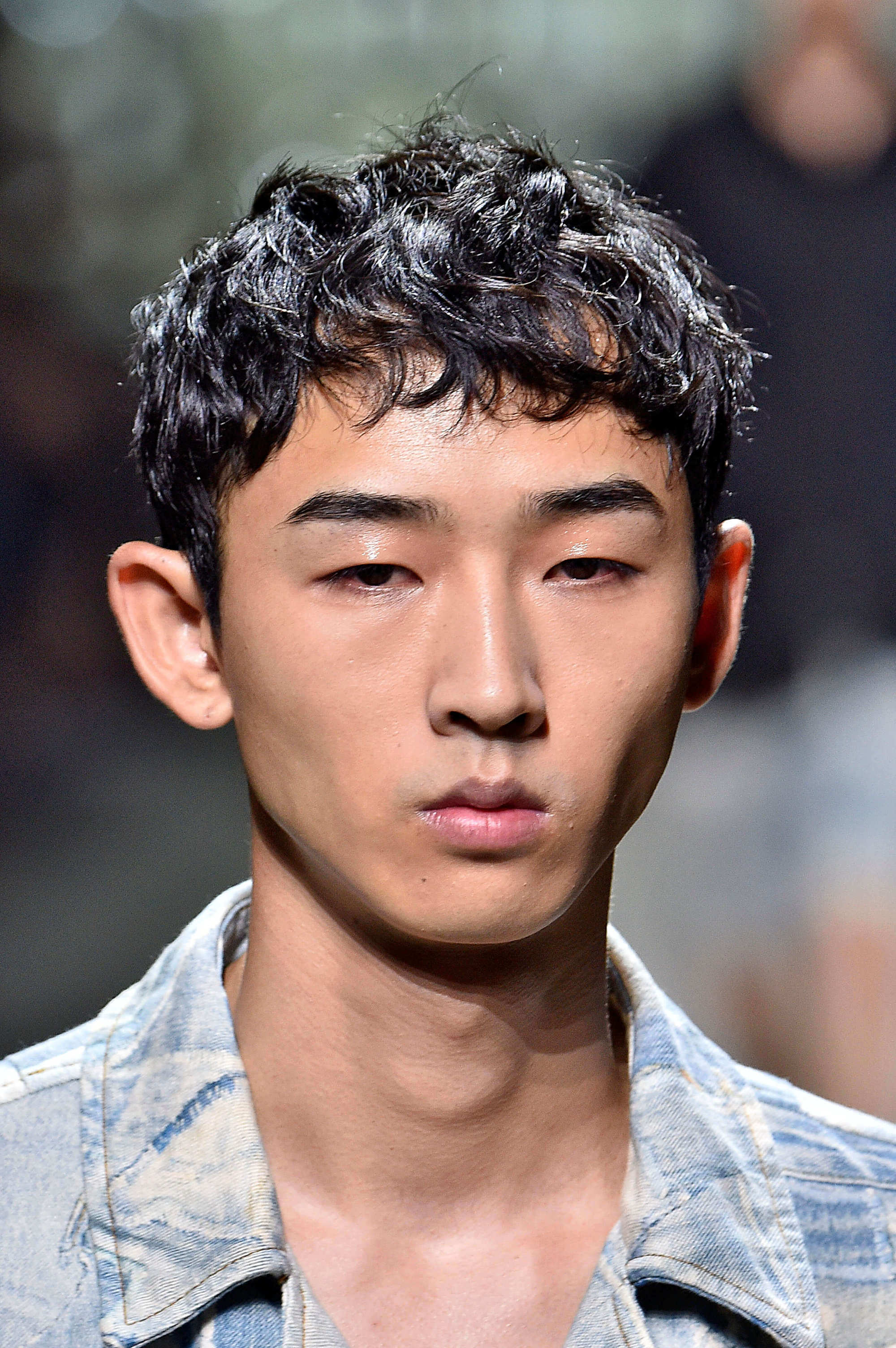 style men's curls with a tousled bowl cut