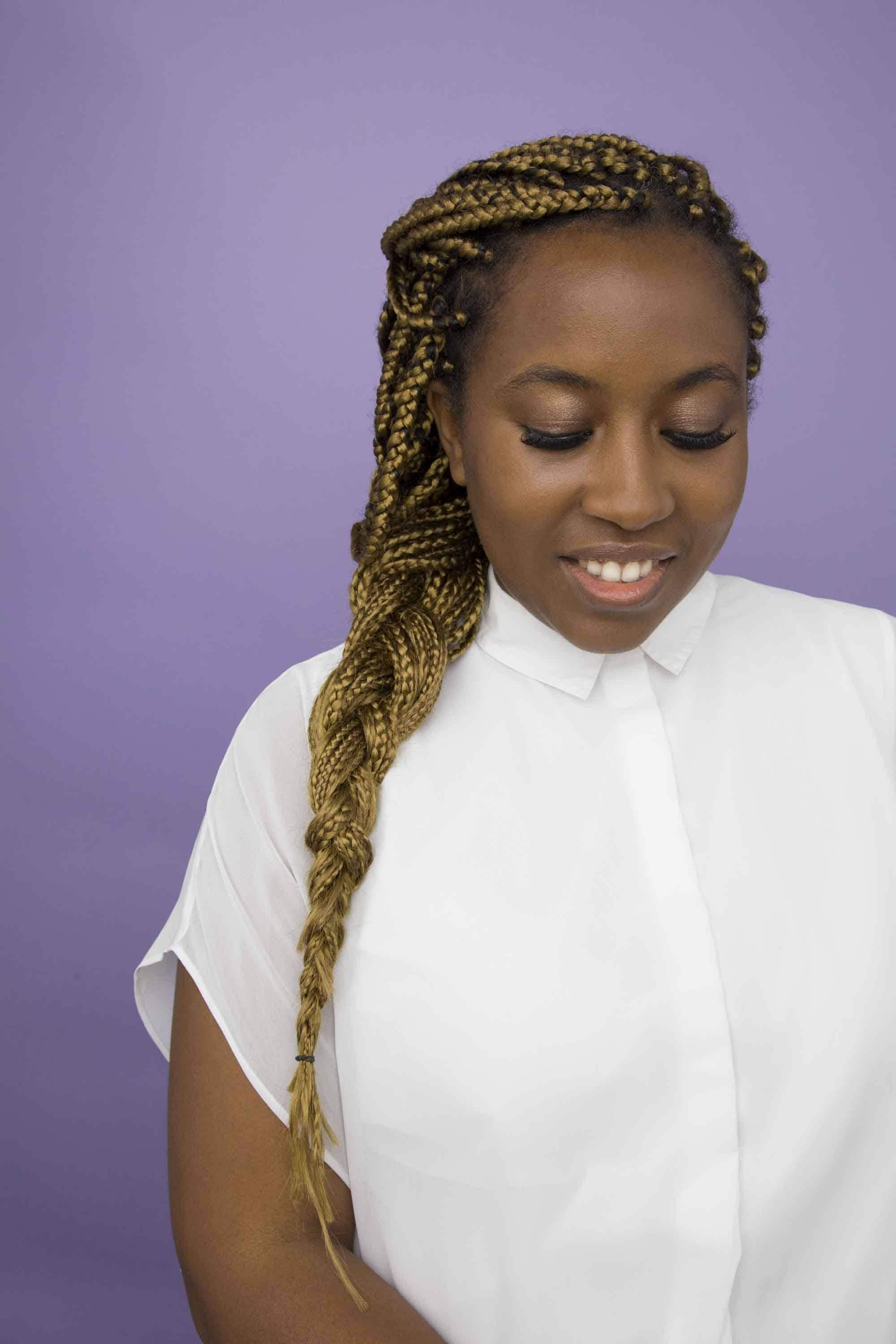 transitioning hairstyles: box braid extensions.