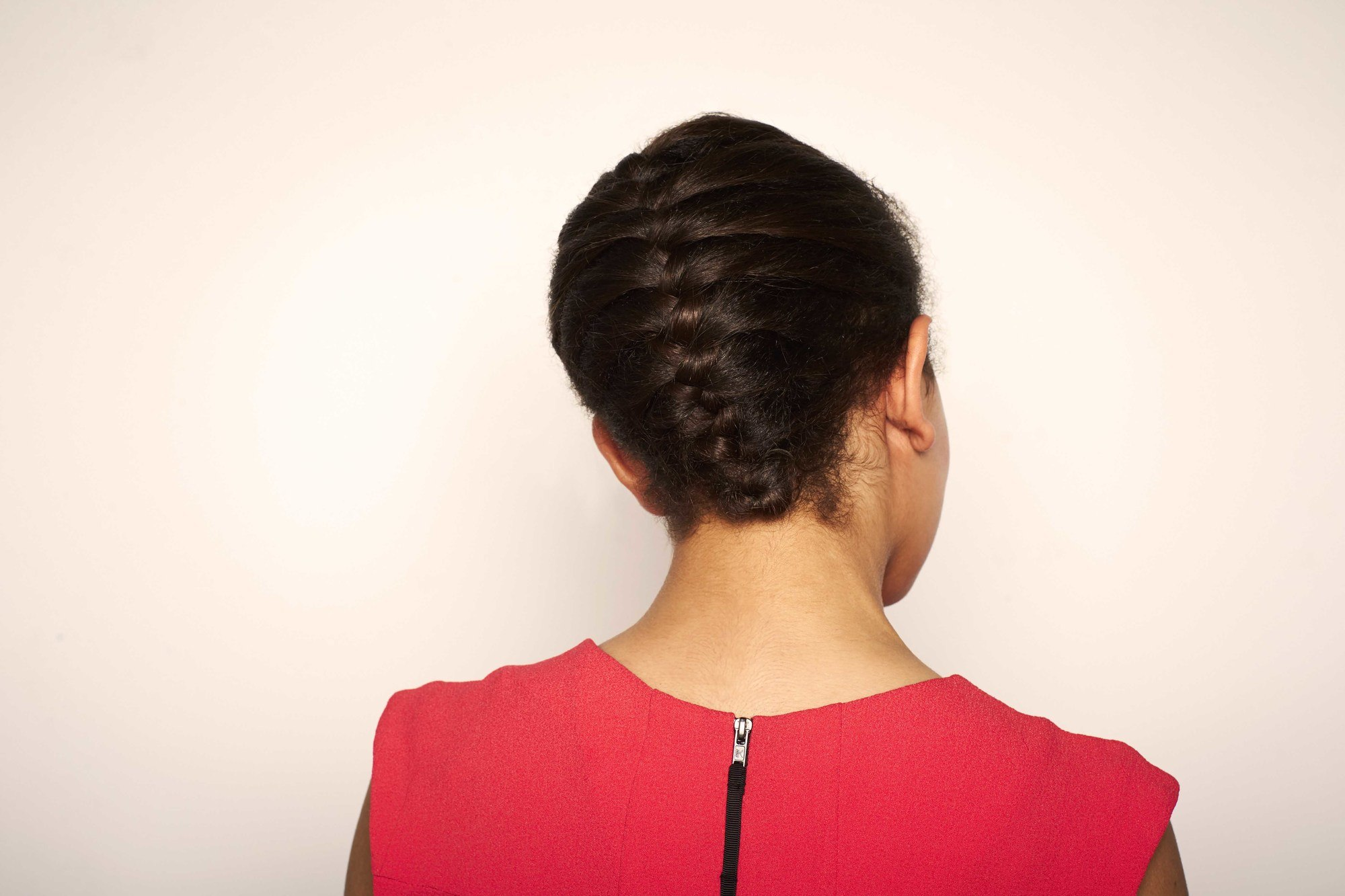 transitioning hairstyles: tucked french braid.