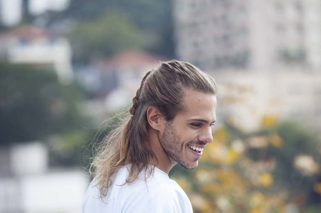 2016 Long Hairstyles for Men: half-up hair