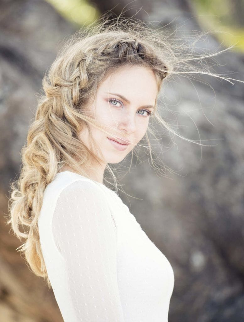 wedding braids with a messy, long braid