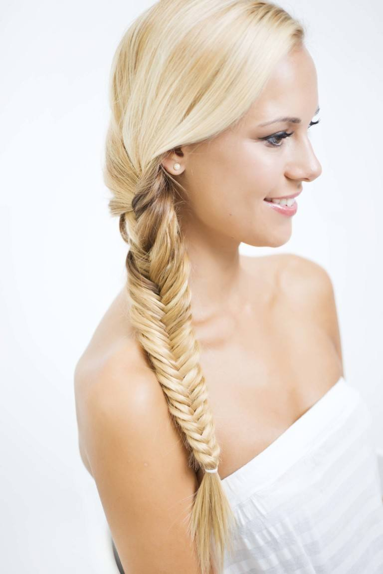 side view fishtail plait braid on blonde hair