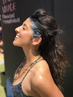 festival hair with blue glitter