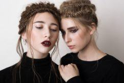 brunette and blonde women wear fishtail braided crowns for prom